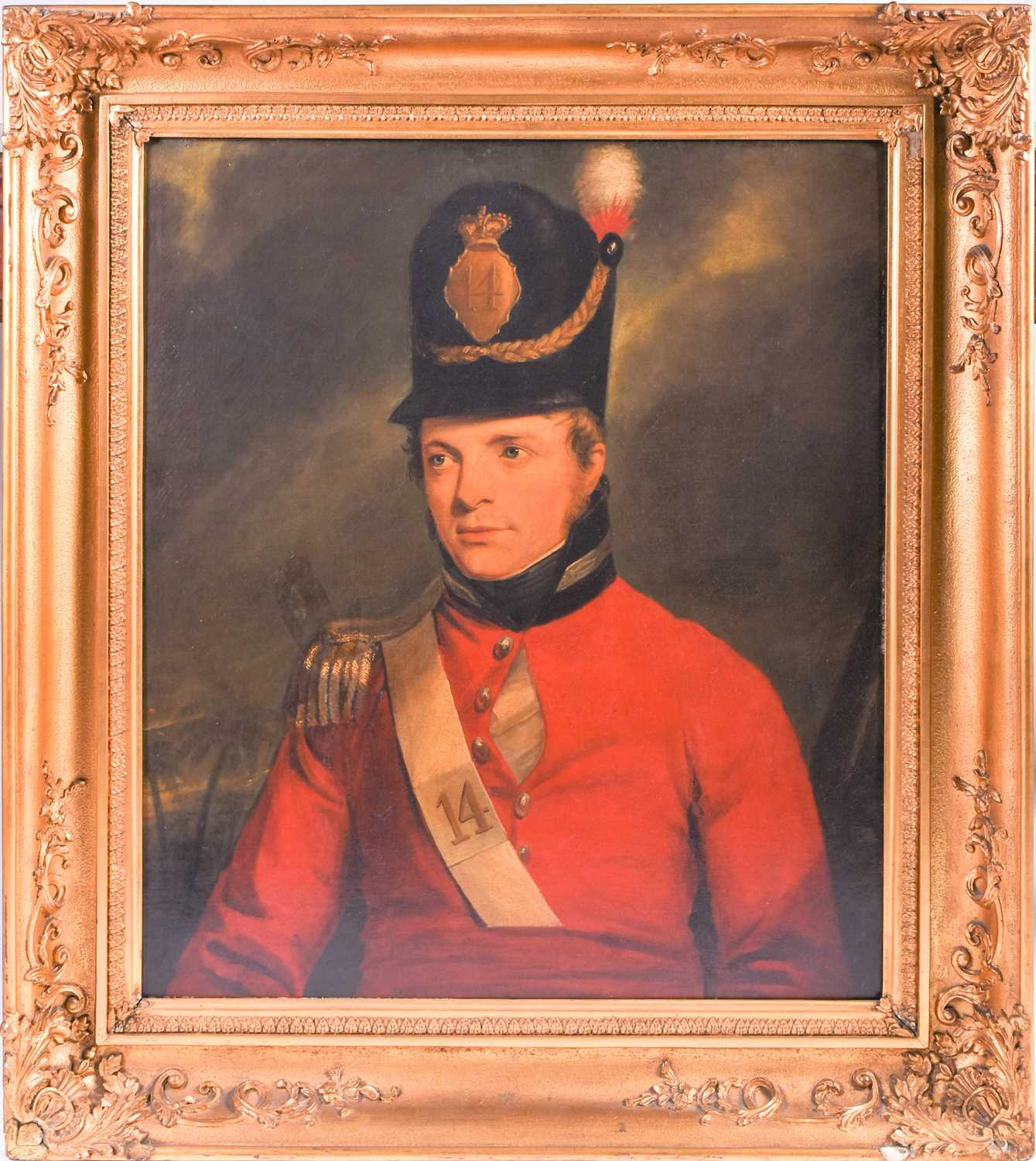 19th century oil on canvas portrait military officer uniform