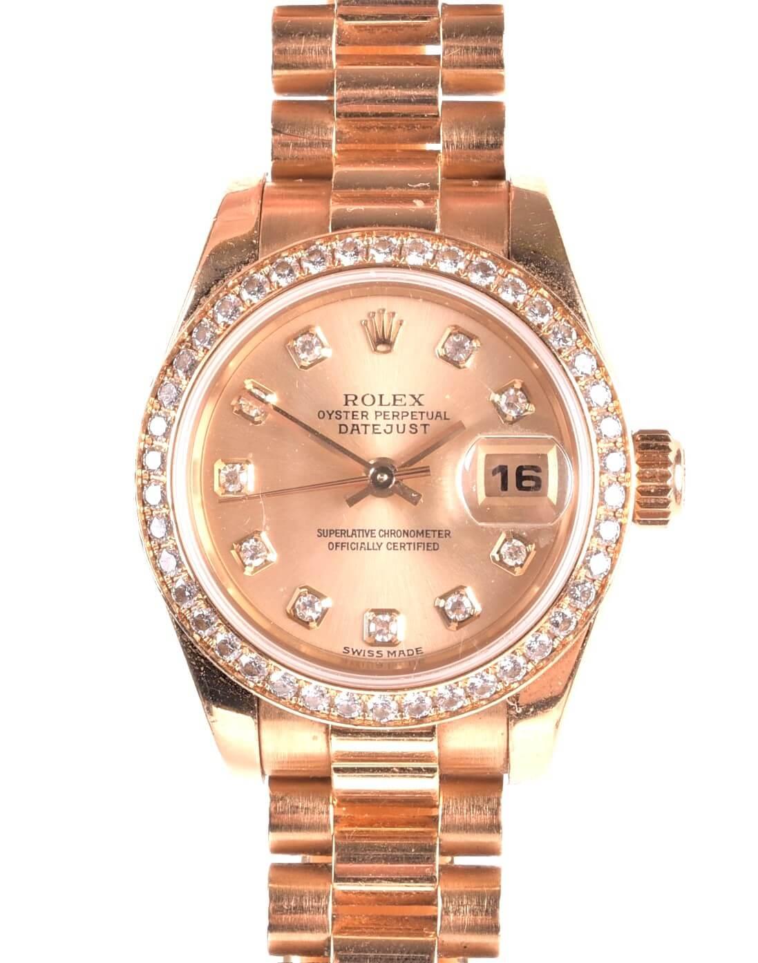 A Rolex DateJust ref 17913818ct yellow gold and diamond ladiesautomatic wristwatch