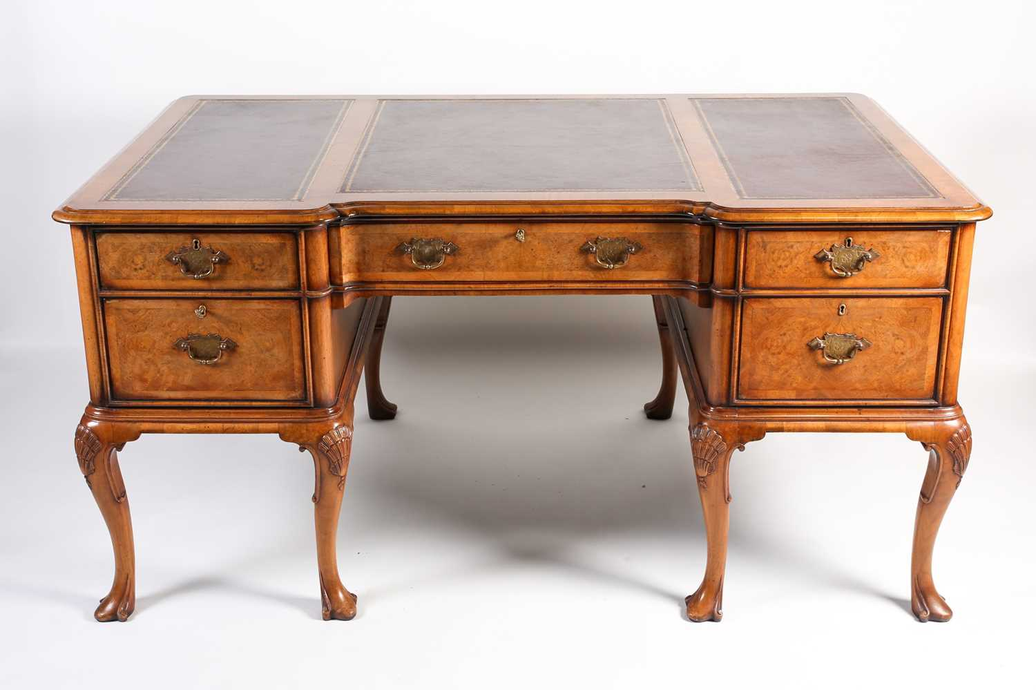 Titchmarsh & Goodwin Queen Anne style walnut writing desk leather breakfront drawers cabriole