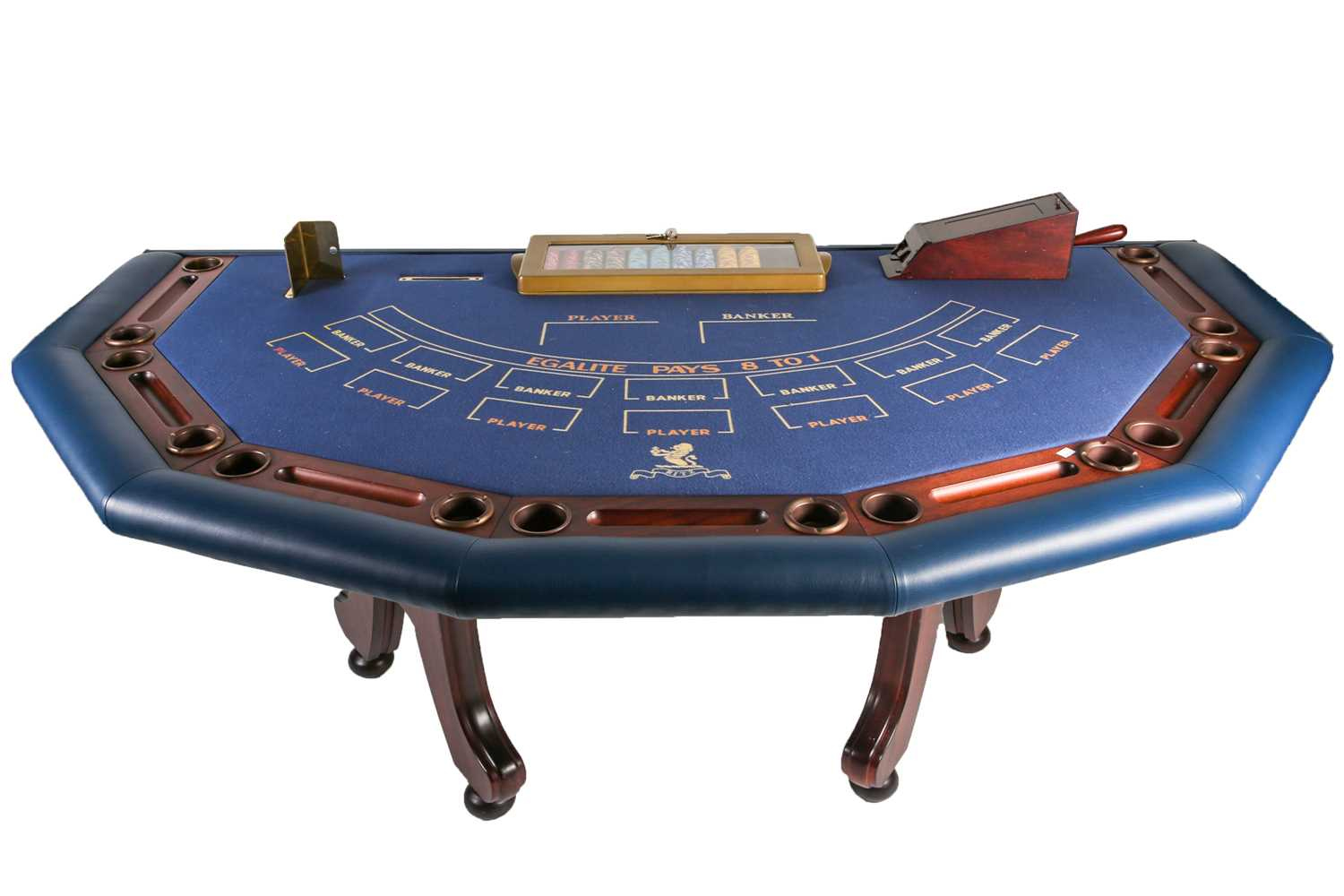 An original Ritz (London) croupier's baccarat card table, with gaming chips, John Huxley Gaming