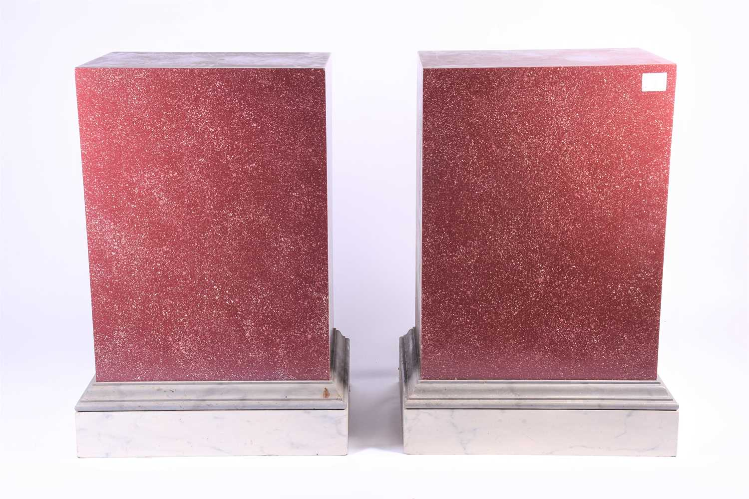 A pair of faux rouge marble effect pedestals / plinths, of rectangular form