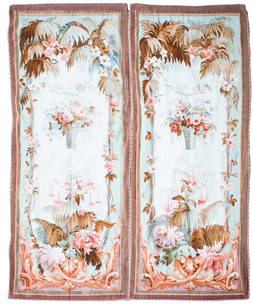 A pair of large rectangular Aubusson style floral tapestries