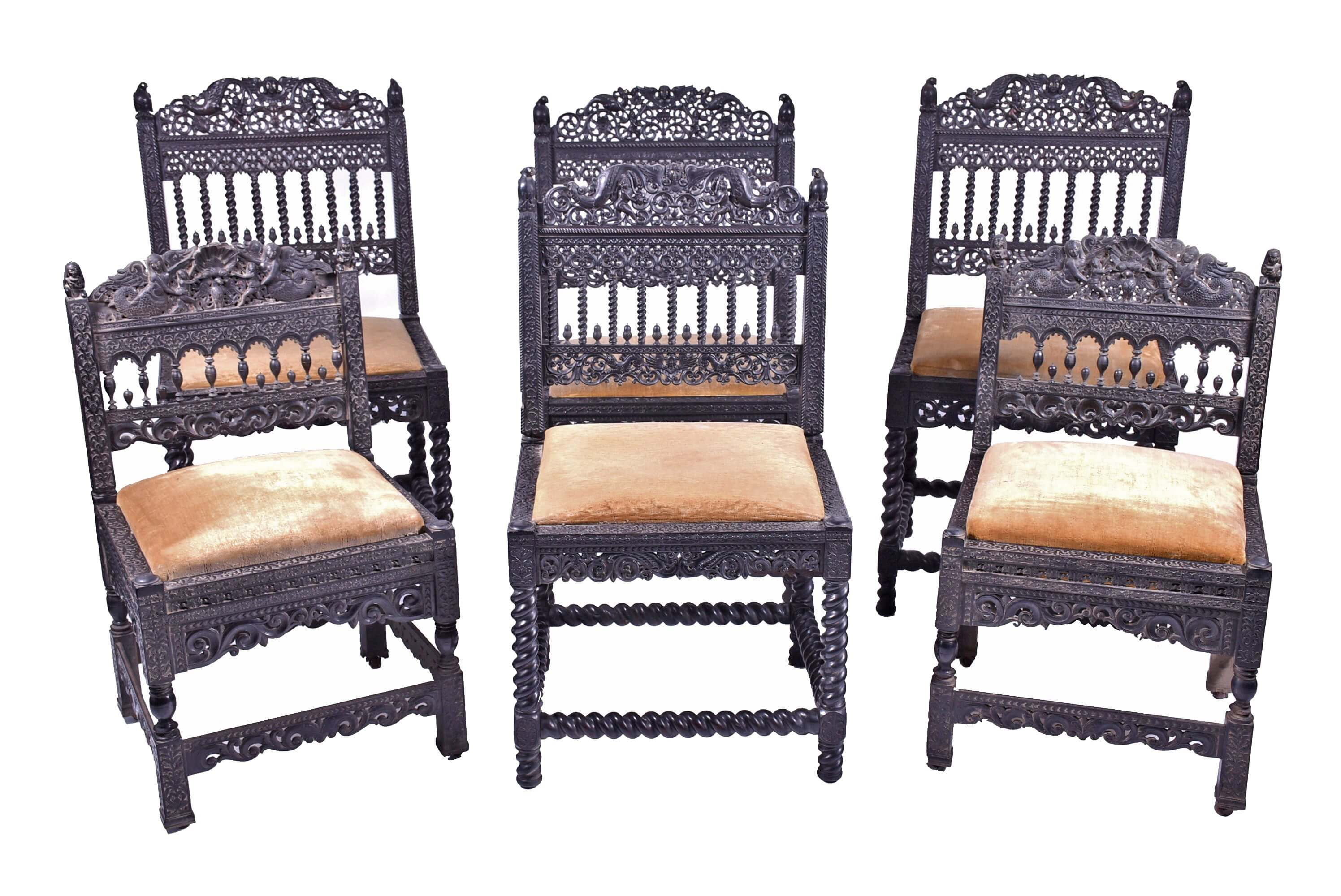 six colonial Anglo-Indian chairs early 19th century