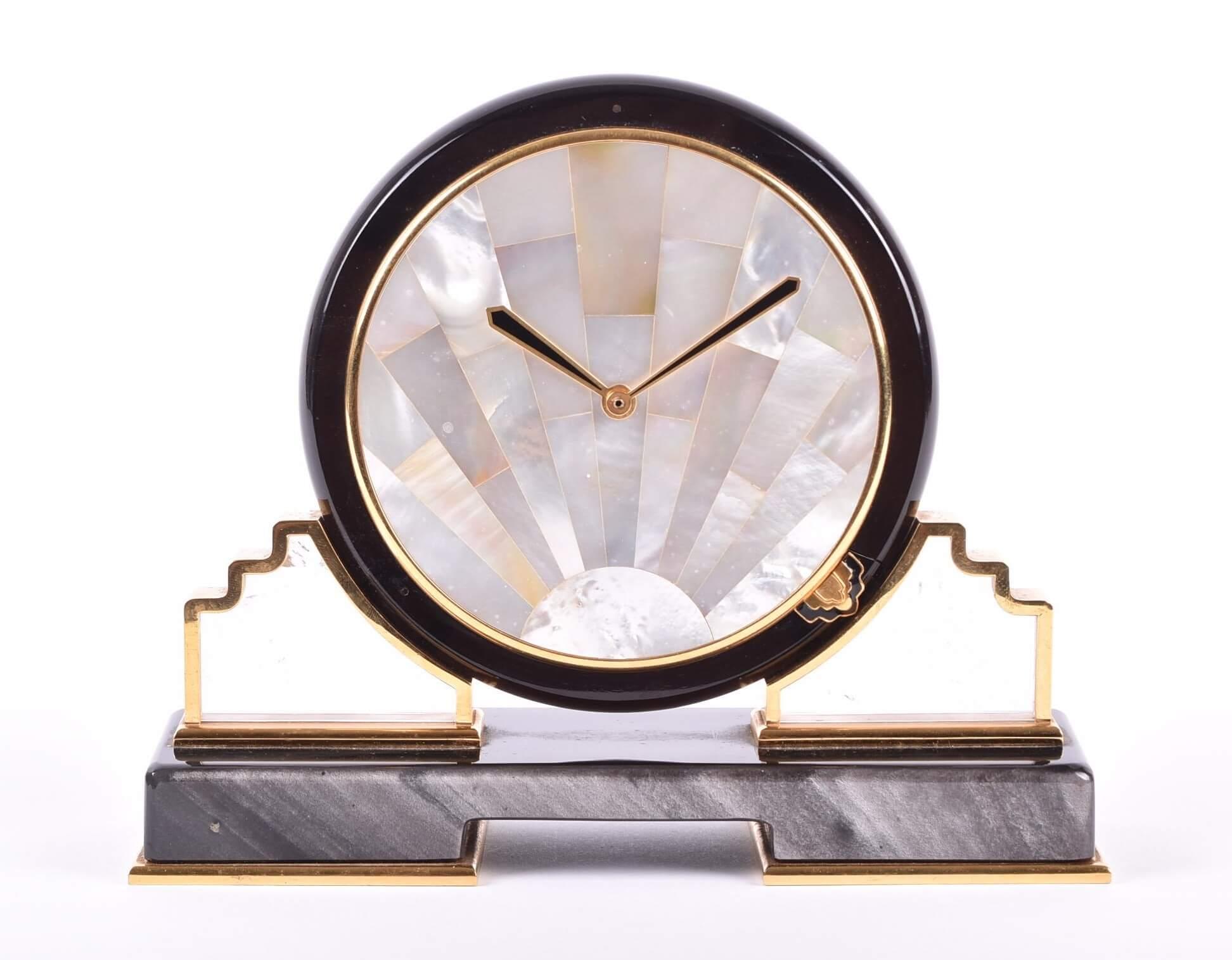 A Cartier Art Deco mother-of-pearl mantel clock