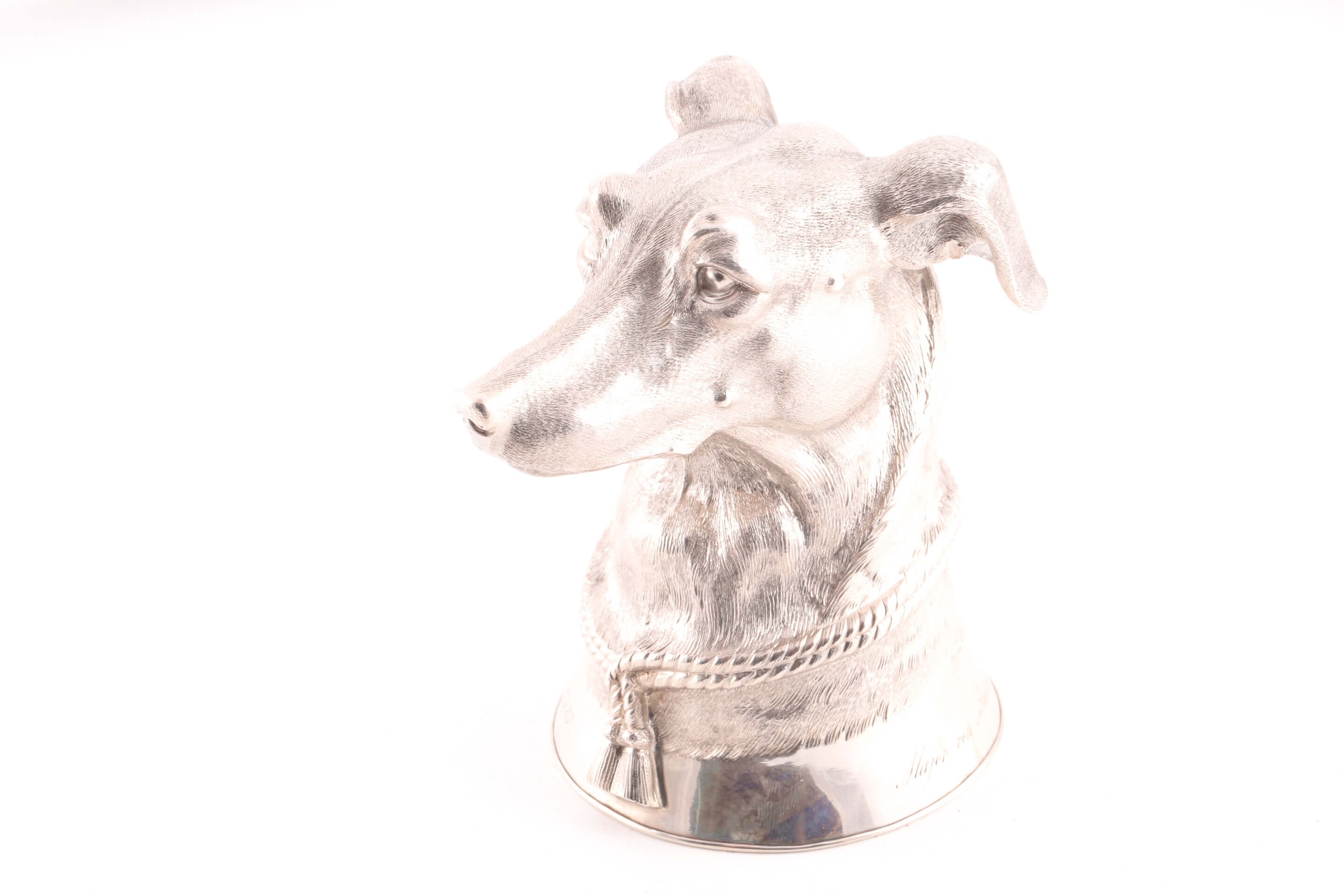 German cast silver stirrup cup modelled as the head of a long dog/ greyhound by E. Wollenweber