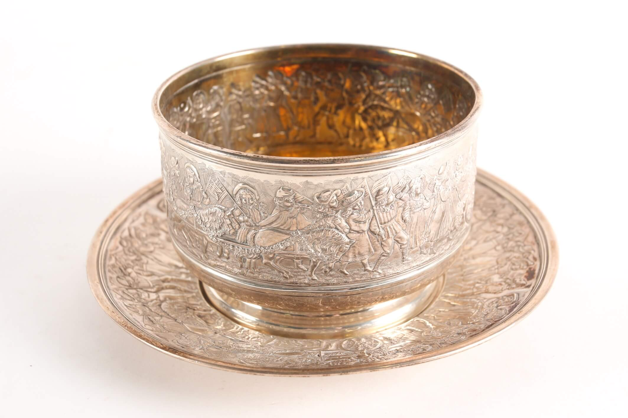 A Tiffany sterling silver fingerbowl and saucer