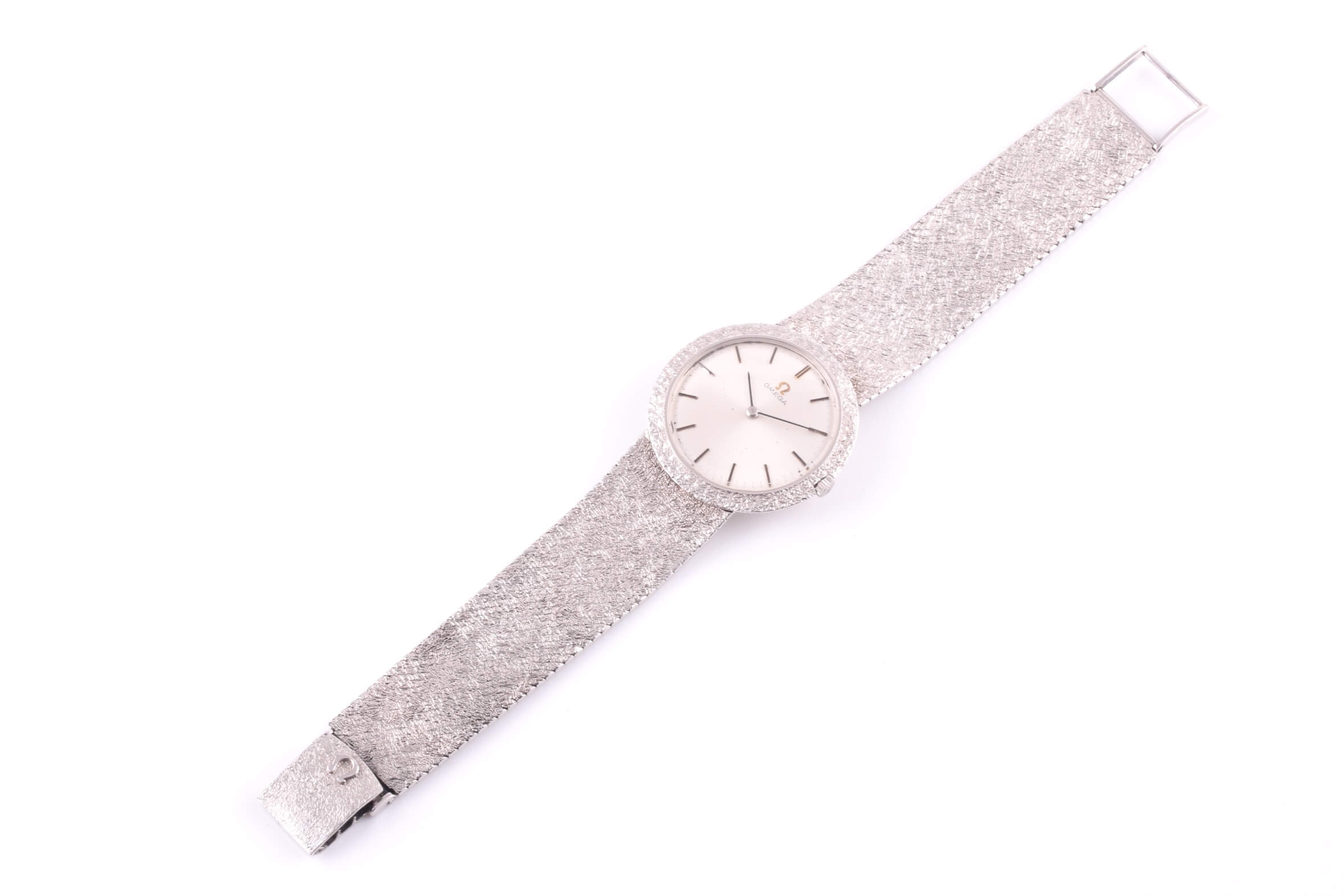 A white metal mens Omega watch