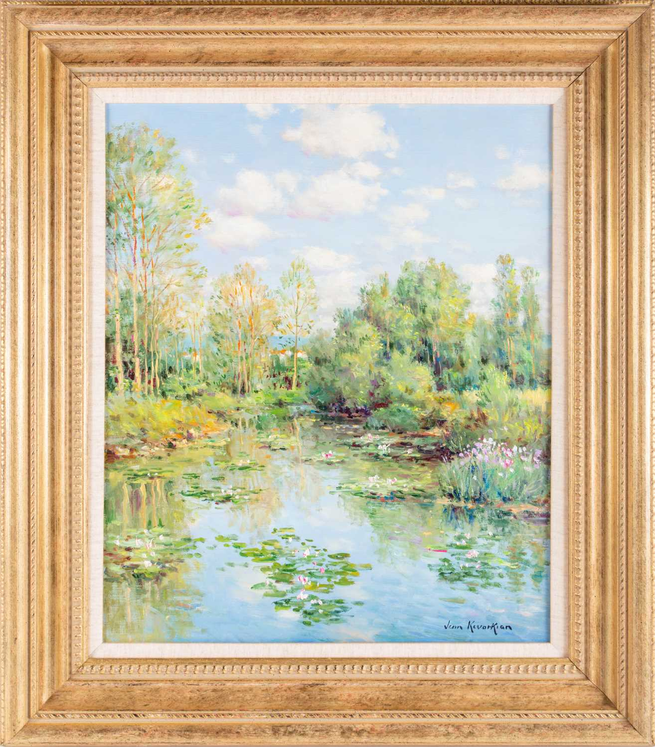 Jean Kevorkian French Nympheas impressionist pond summer oil on canvas