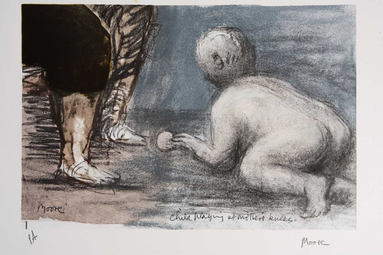 Henry Moore Child Playing at Mother's Knees lithographic print