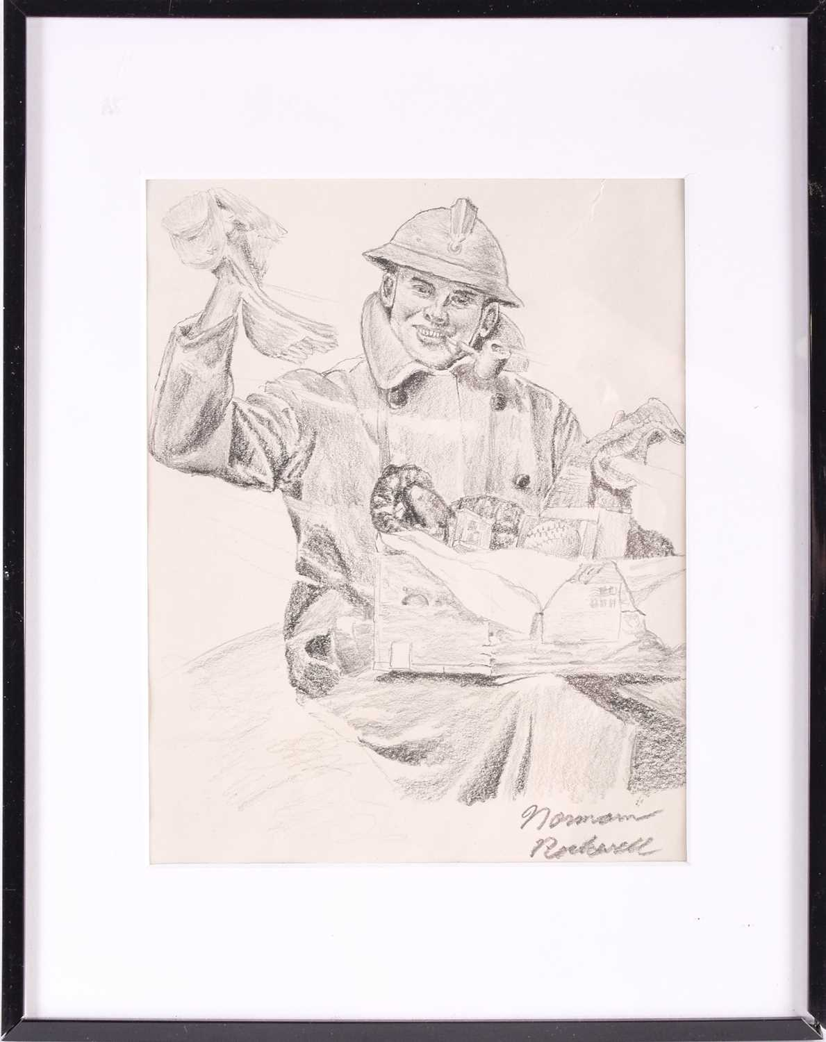 Norman Rockwell pencil drawing on paper