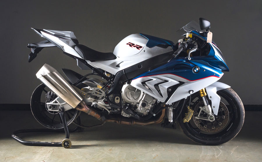 A 2015 BMW S1000RR 999cc sports motorcycle
