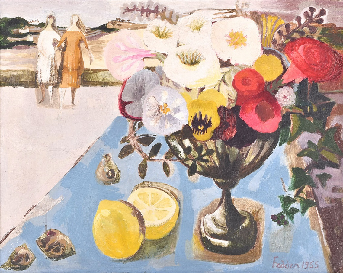 Mary Fedden OBE (1915-2012) British still life with a vase of flowers and lemons on a table.