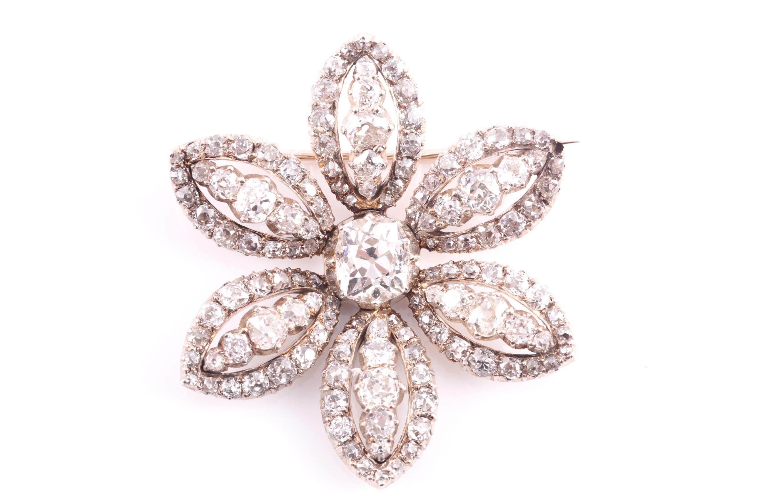 Victorian diamond cluster brooch