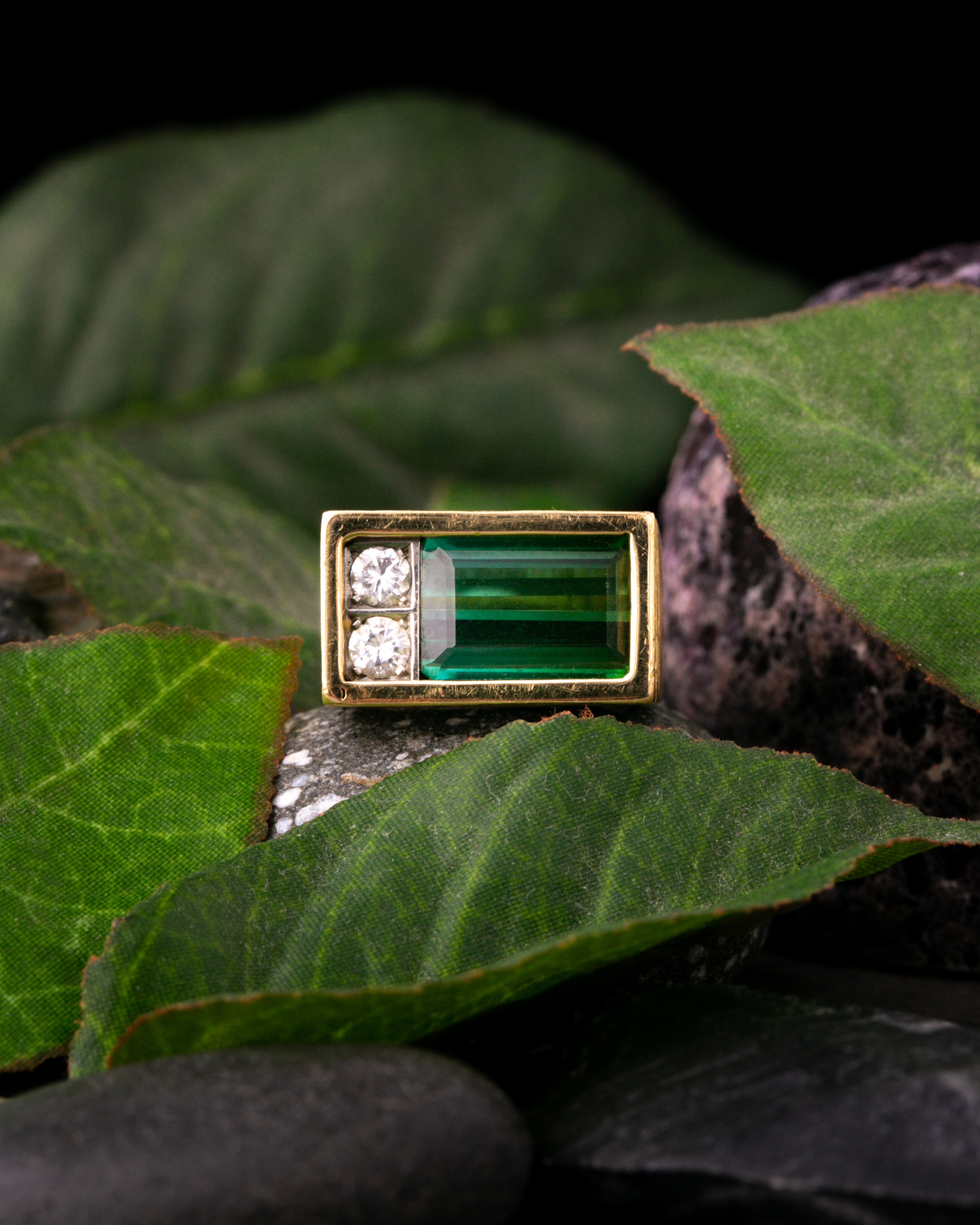 Andrew Grima. An 18ct yellow gold, tourmaline, and diamond ring.