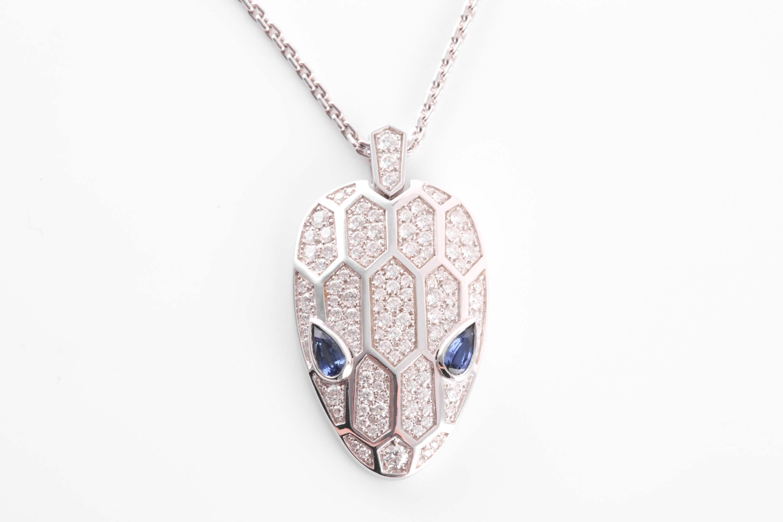 Bulgari 18 carat white gold, sapphire and diamond Serpenti necklace