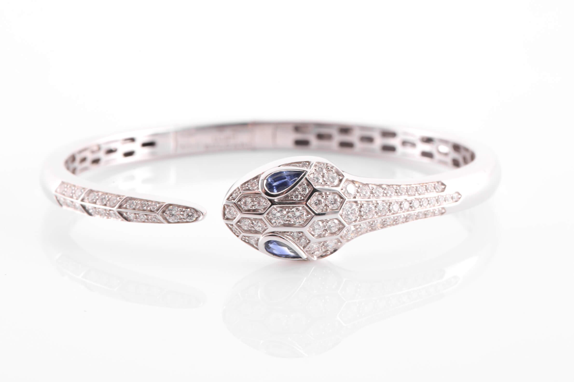 Bulgari 18 carat white gold, sapphire and diamond Serpenti bracelet