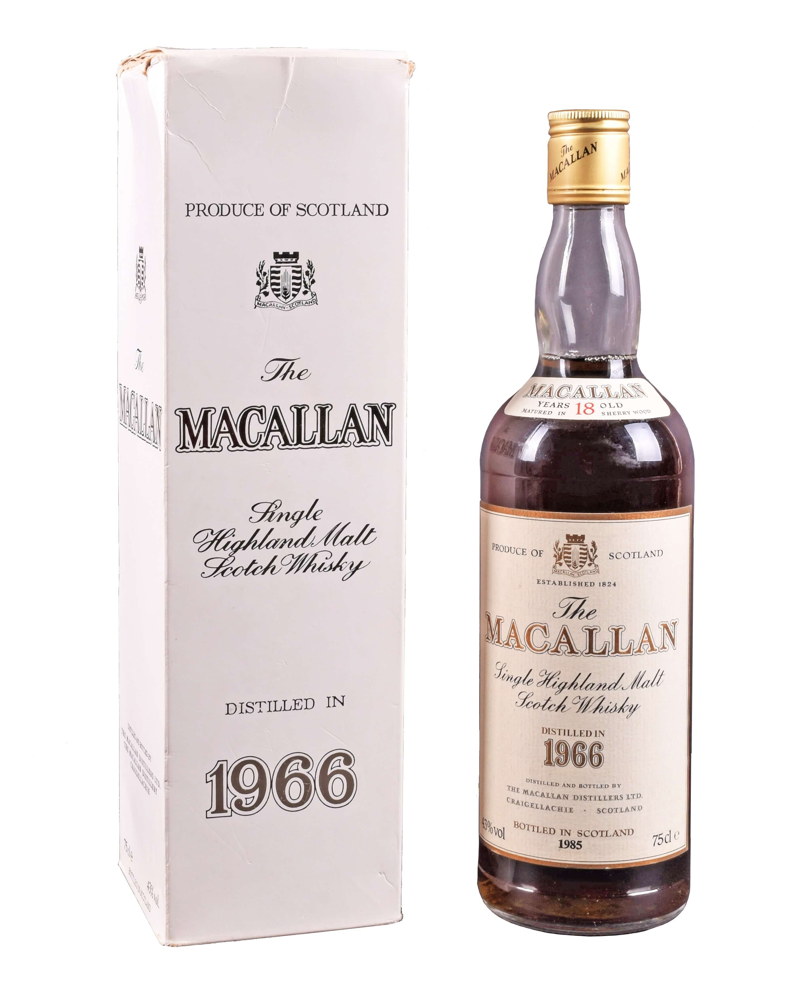 A bottle of 1985 Macallan Single Highland Malt Scotch Whisky. Sold for £1,900.