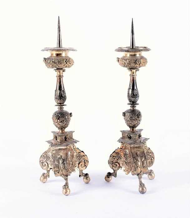Lot 335-A pair of 18th century English prickett alter...