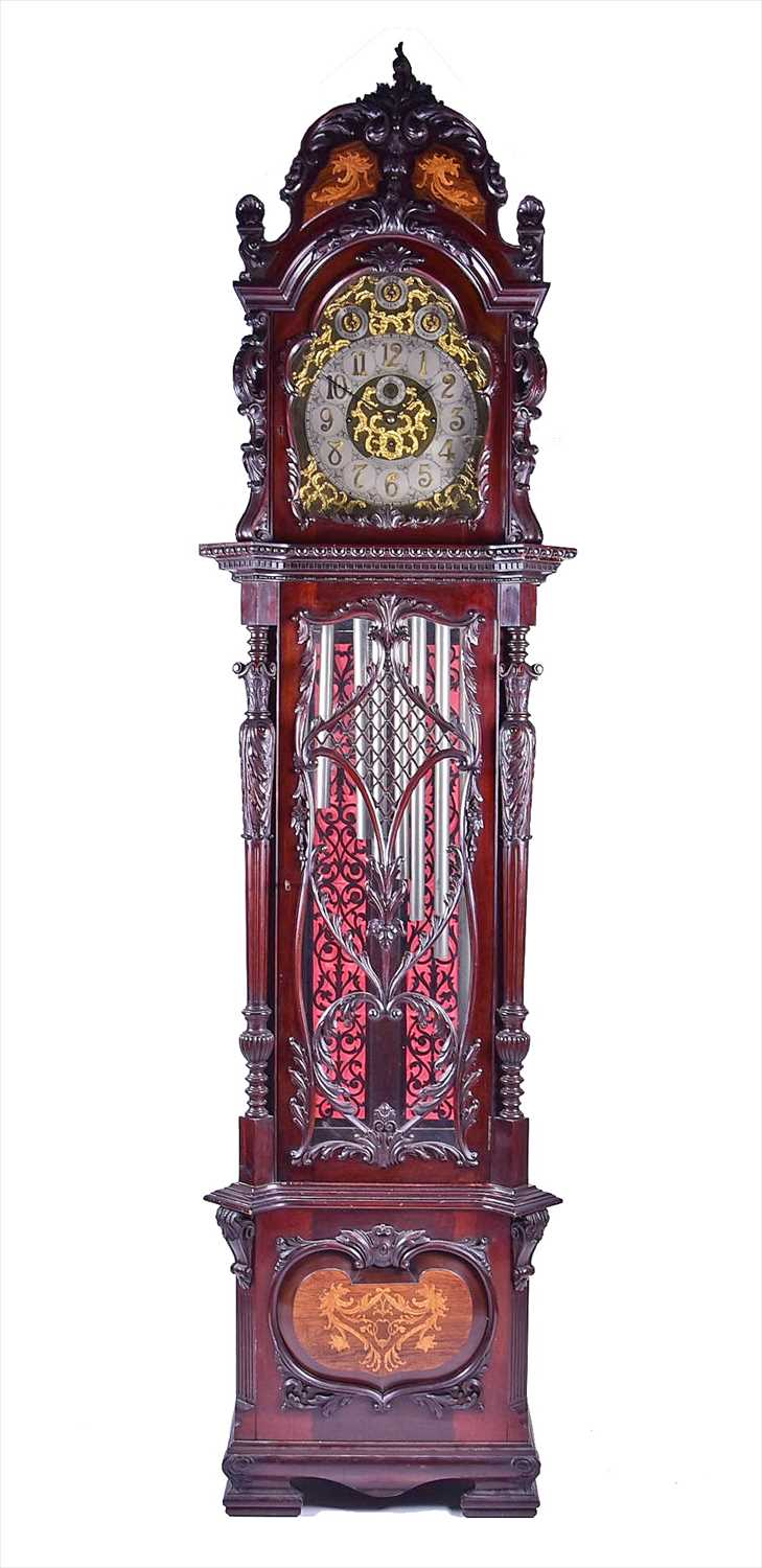 Lot 443-A fine and very large Edwardian musical longcase...