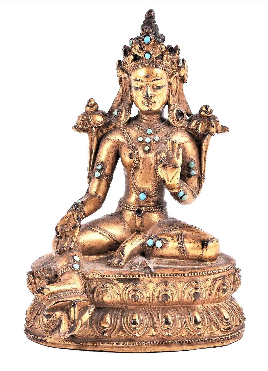 Lot 220-A fine Tibetan gilt metal figure of Tara,...