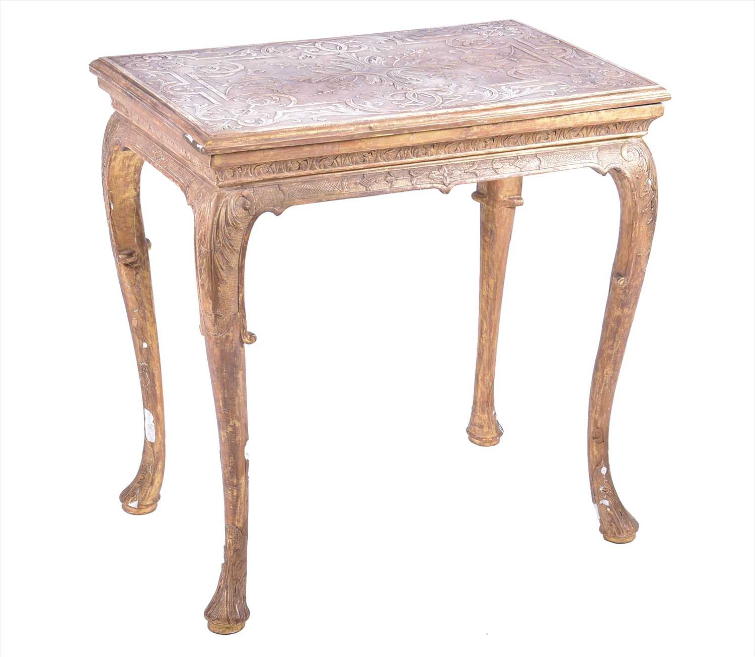 Lot 16-A George II giltwood and gesso occasional table...
