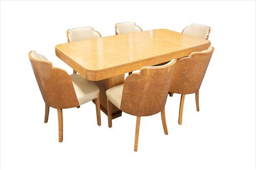 Lot 87-An Art Deco bird's-eye maple veneer dining room...