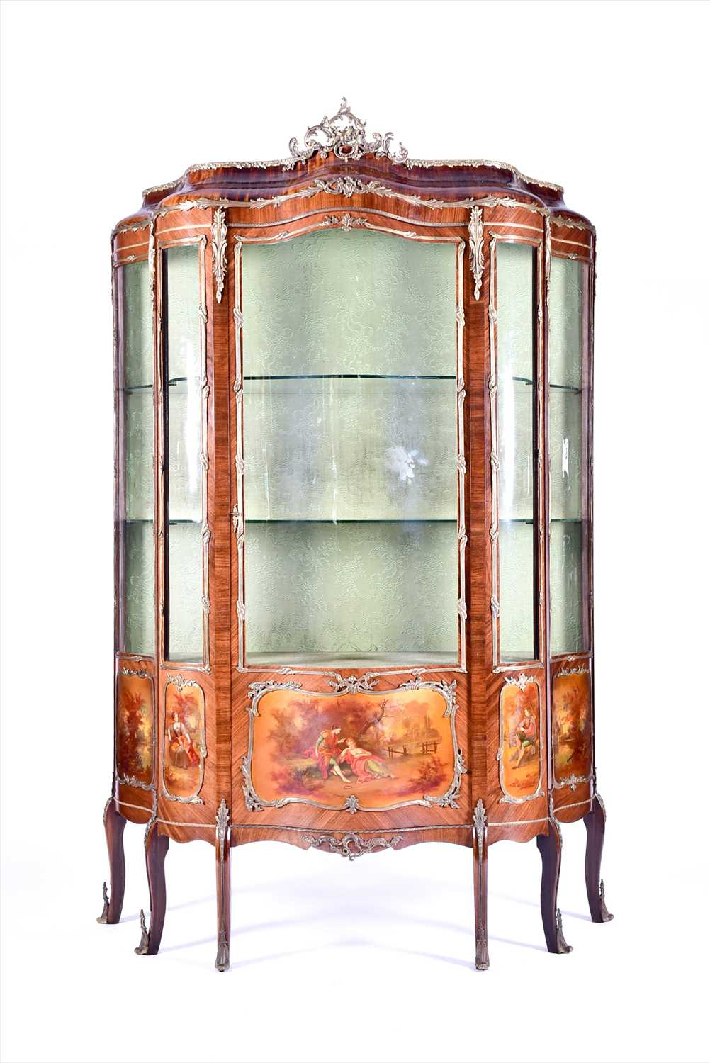 Lot 12-A large Louis XV style serpentine front...
