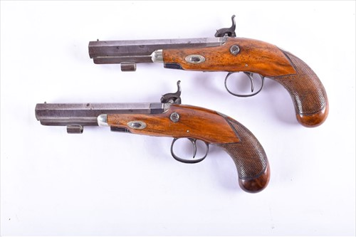 Lot 338-A pair of duelling pistols by Conway with...