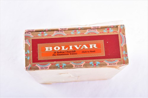 Lot 386-A sealed box of 25 Bolivar Churchill cigars each...