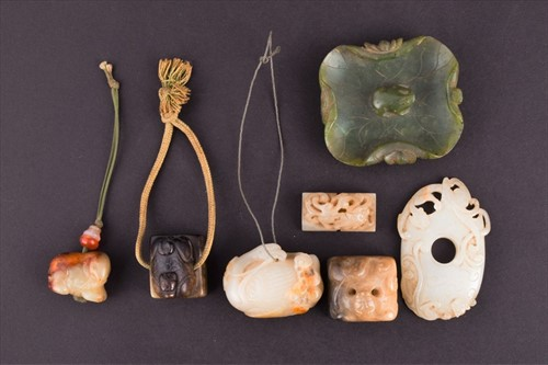 Lot 119-Seven small items of carved Chinese jade modelled ...