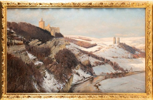 Lot 2-Friedrich Nath (1859-1929) German 'Winter in...