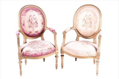 Lot 85-A pair of 20th century giltwood fauteuils in the...