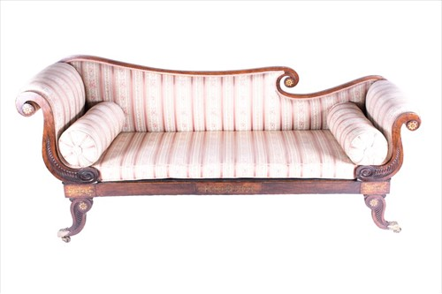 Lot 83-A 19th century rosewood and brass inlaid sofa...