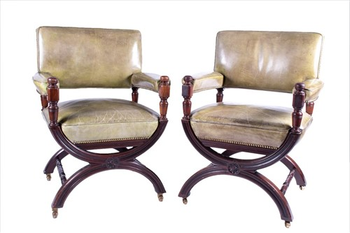Lot 81-A pair of early 20th century mahogany library...