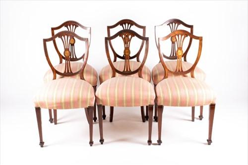 Lot 80 - A set of six 19th century mahogany and inlaid...