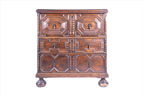 Lot 78-A late 17th century William and Mary oak chest...