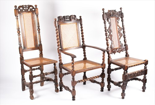 Lot 77-Two 17th century style carved oak side chairs...