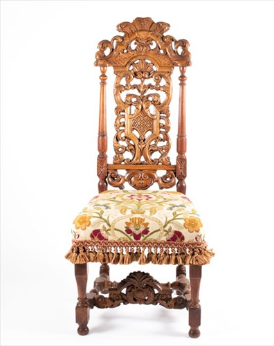 Lot 89-A 17th century style carved and pierced back...