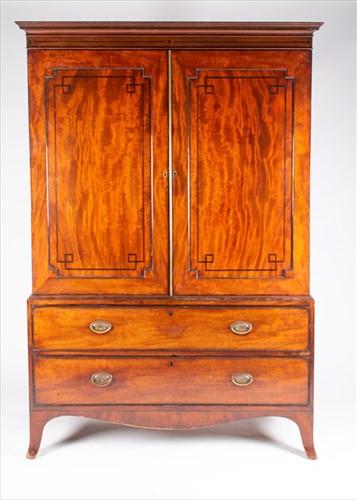 Lot 82-A 19th century mahogany and inlaid linen press...