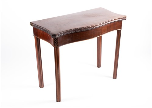 Lot 75-A 19th century mahogany serpentine fronted...