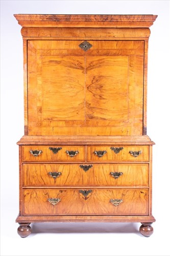 Lot 70-A William and Mary walnut veneered secretaire on...