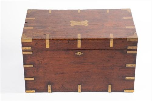 Lot 86-A 19th century mahogany and brass bound campaign...