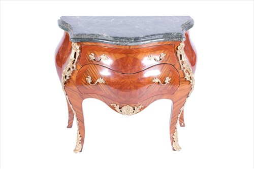 Lot 88-A Louis XV style bombe commode with serpentine...