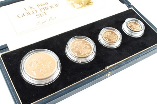 Lot 280-An Elizabeth II gold proof coin set comprising...