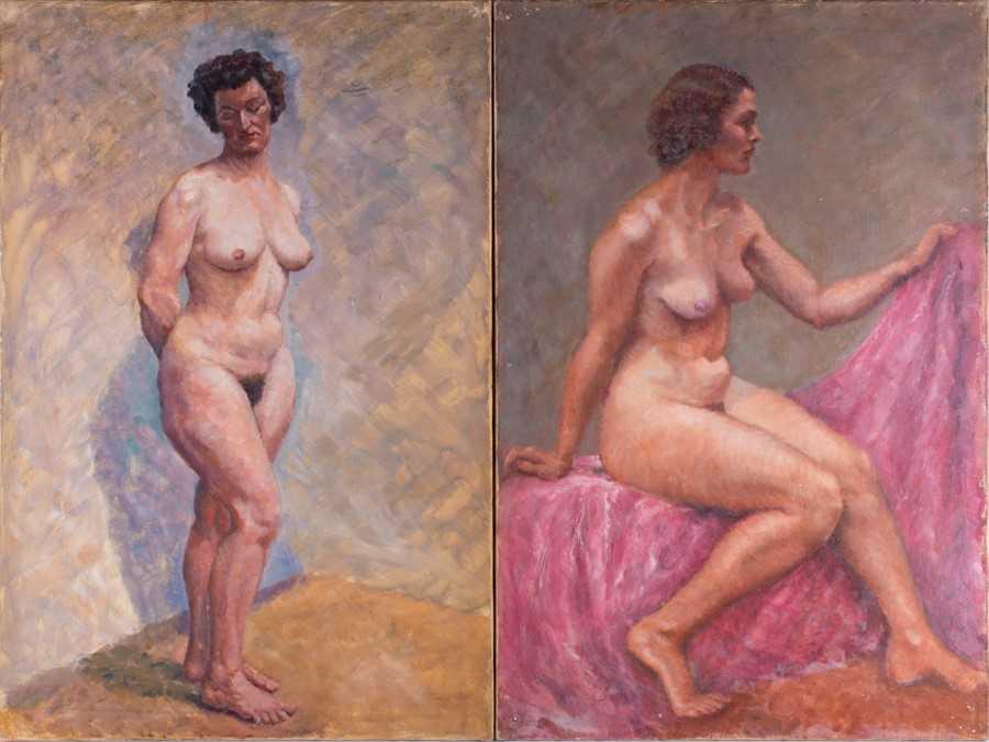 Lot 36-Hans Eriksen (1912-1982) Danish depicting two...