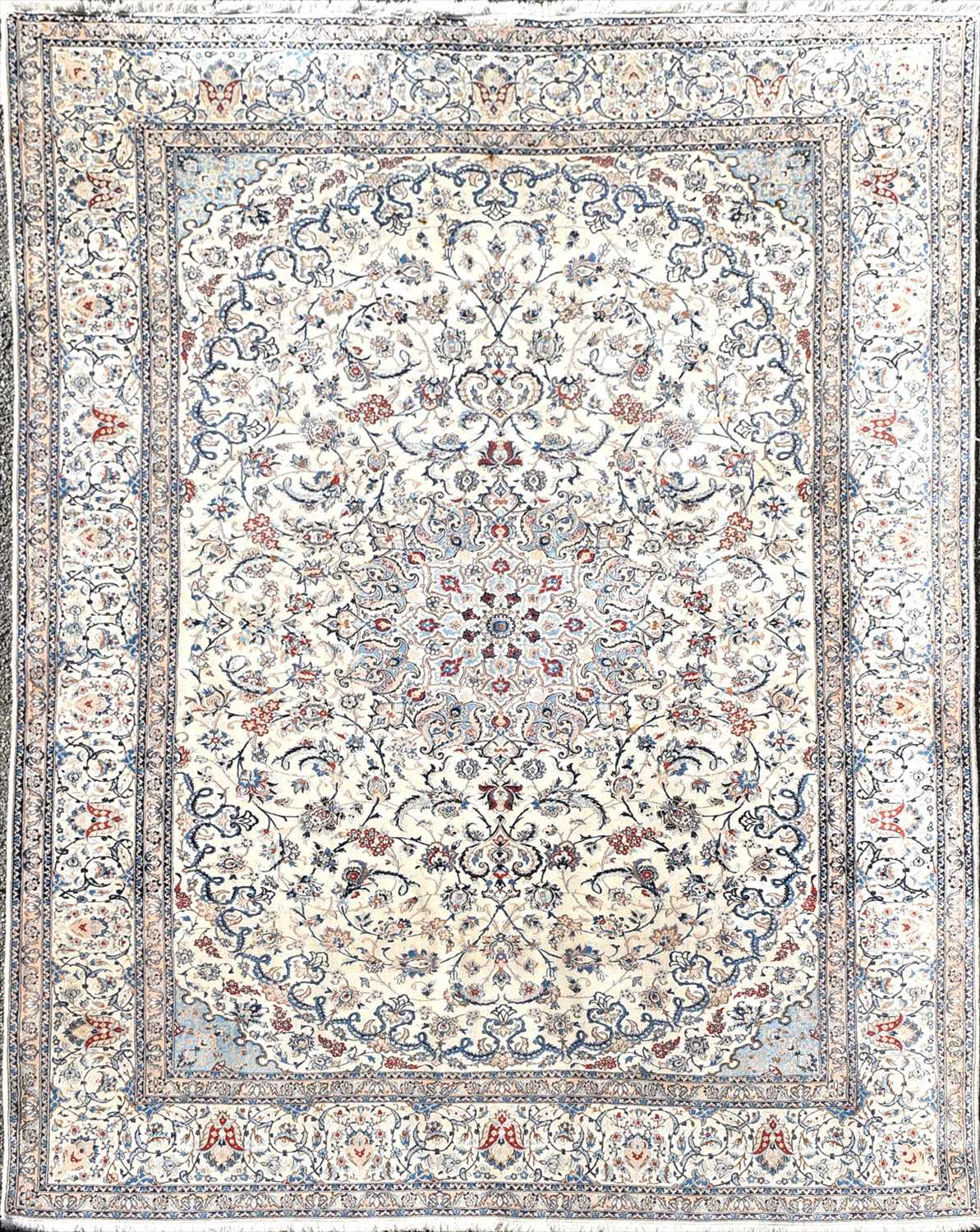 Lot 60-A Persian ivory ground silk and wool Isfahan...