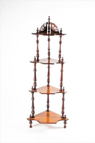 Lot 95-A late Victorian mahogany and inlaid four-tier...