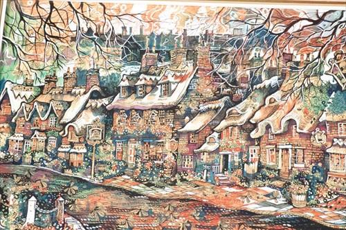 Lot 13-Pat Cooke (1935-2000) British 'Rockingham Village,...