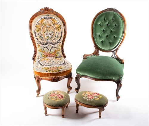 Lot 96-A Victorian mahogany spoon-back chair in green...