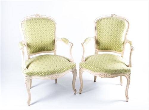 Lot 101-A pair of Louis XV style bergere armchairs...